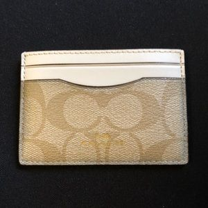 Coach Gold and White Monogram Card Holder